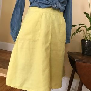 Yellow A-line linen skirt H&M